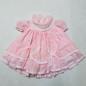5/$25 Vintage pink ruffle party baby dress 12 M